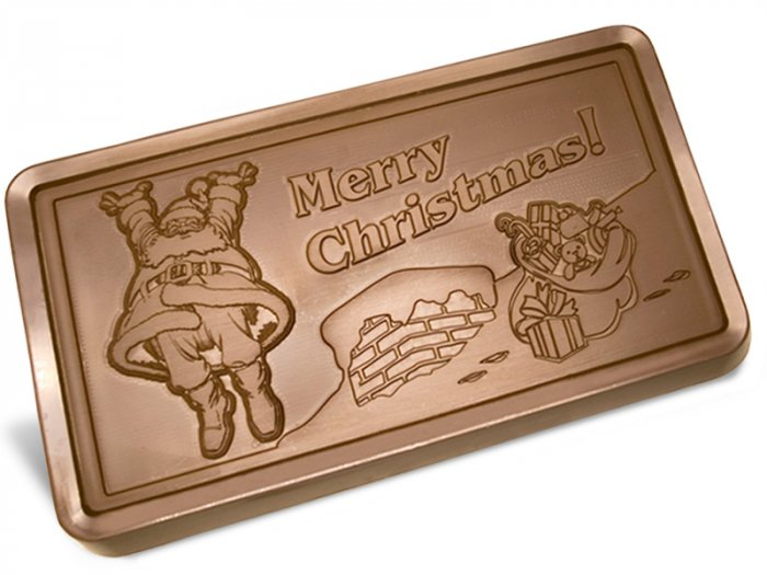 Big Belgian MERRY CHRISTMAS 5 lb. Milk Chocolate Bar Engraved for Clients or as a Gift