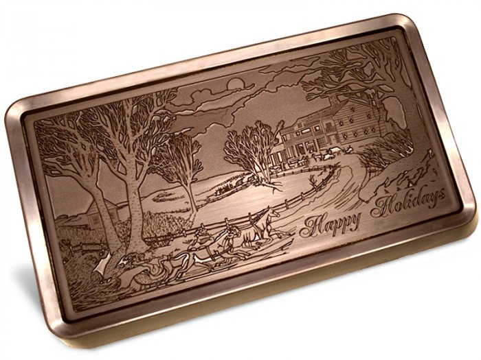 Big Belgian HAPPY HOLIDAYS 5 lb. Dark Chocolate Bar Engraved for Clients or as a Gift