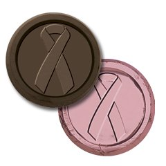 Breast Cancer Awareness Coin Engraved Dark Chocolate Coins case of 250 Corporate Tradeshow Promotion