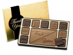 19 Piece Thank You Chocolate Assortment Engraved Milk Chocolate Corporate Client gift CASE OF 5
