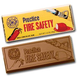 50 FIRE SAFETY Engraved Milk Chocolate Bars for Clients or Tradeshow Give-a-ways