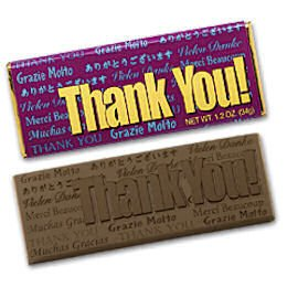 50 Thank You Engraved Dark Chocolate Bars for Clients, Employees and Tradeshow Give a ways