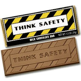 50 THINK SAFETY Engraved Milk Chocolate Bars for Clients or Tradeshow Give-a-ways