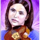She Loves Musik / A Girl and Violin ACEO Original Acrylic Painting by R.J.
