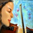 She Loves Musik / A Girl with Violin ACEO Original Acrylic Painting by R.J.