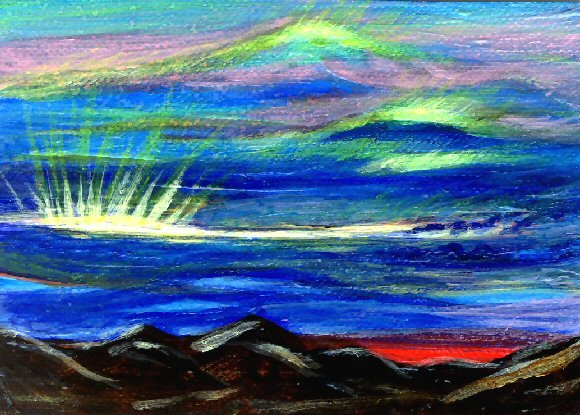 Surrealistic Scottish Sky / ACEO Original Acrylic Painting by R.J.