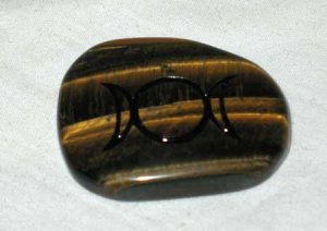 Triple Moon Tiger Eye Worry Stone Healing Wicca Crystal