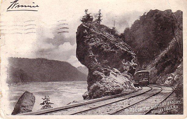 Through the Gorge by Trolley, Niagara Falls New York NY, 1904 Vintage Postcard - 3493