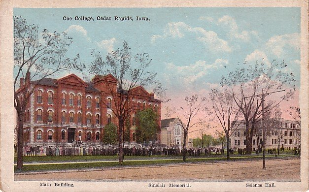Coe College in Cedar Rapids Iowa IA, Vintage Postcard - 3500