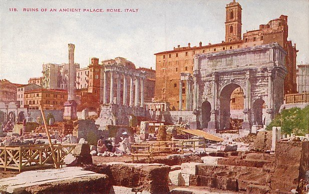 Ruins of an Ancient Palace in Rome Italy, Vintage Postcard - 3562