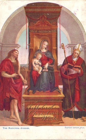 The Madonna Ansidei by Raphael Sanzio, Raphael Tuck & Sons Vintage Art Postcard - 3574