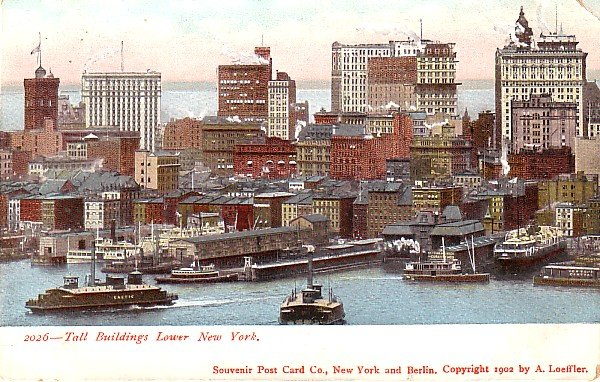 The Tall Buildings of Lower New York City, NY 1902 Vintage Postcard - 3586
