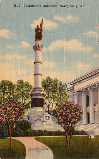 Confederate Monument in Montgomery Alabama AL, 1943 Curt Teich Linen Postcard - 3596