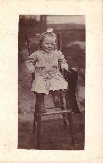 Girl Sitting in Wooden Highchair Real Photo Post Card RPPC - 3621