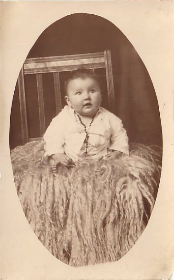 Baby Sitting On Sheep Skin Rug, Real Photo Post Card RPPC - 3623