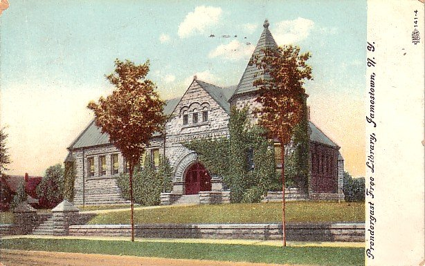 Prendergast Free Library in Jamestown New York NY, 1908 Vintage Postcard - 3638