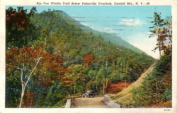 Rip Van Winkle Trail, Catskill Mountains in New York NY Vintage Postcard - 3657