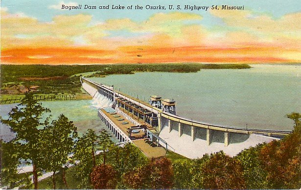 Bagnell Dam and Lake of the Ozarks, U.S. Highway 54 Missouri MO 1952 Postcard - 3662