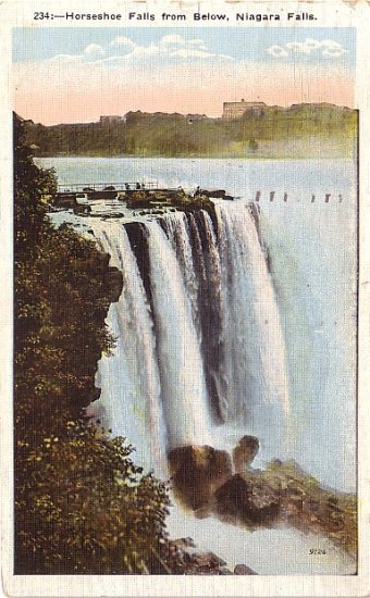Horse Shoe Falls from American Side, Niagara Falls New York NY 1923 Vintage Postcard - 3663