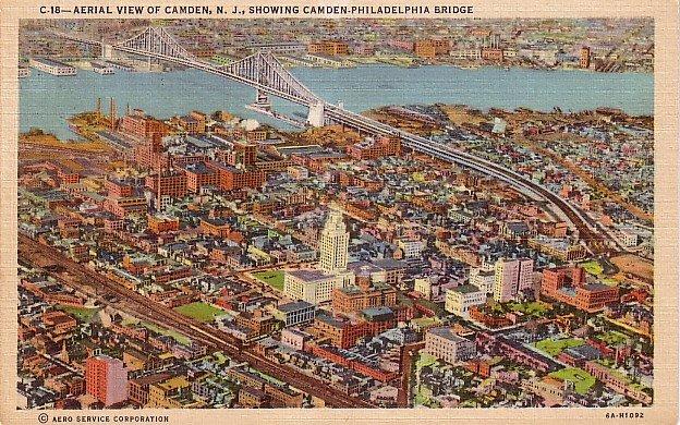 Aerial View of Camden New Jersey 1936 Curt Teich Linen Postcard - 3675