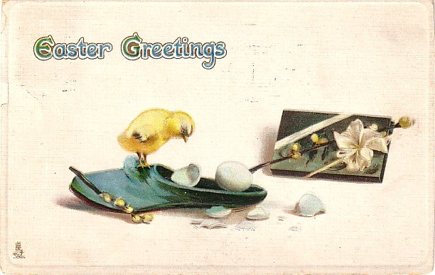 Raphael Tuck and Sons Easter Postcard of Chick on a Slipper - 3678