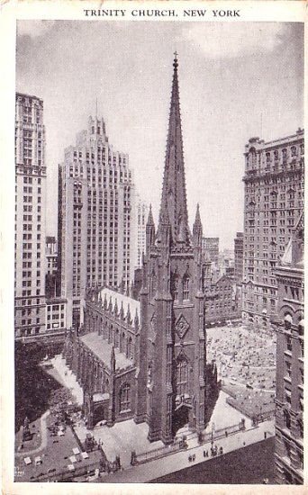 Trinity Church in New York City, NY Vintage Postcard - 3700