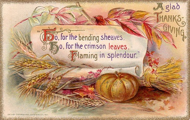 John O. Winsch Thanksgiving 1911 Vintage Postcard - 3701