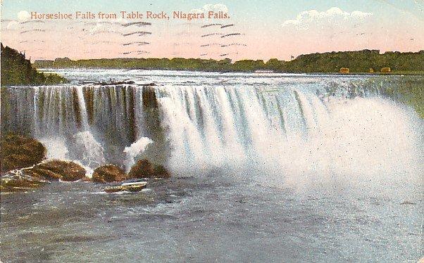 Horseshoe Falls from Table Rock Niagara Falls New York 1911 Vintage Postcard - 3714