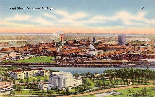 Ford Plant in Dearborn Michigan MI Tichnor Gloss Postcard - 3720