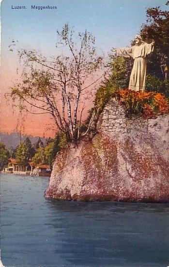 Statue of Christ at Meggenhorn in Lucerne Switzerland Vintage Postcard - 3757