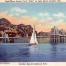 Racing Yacht Loke on Lake Mead near Boulder City, Nevada NV 1938 Curt Teich Linen Postcard - 3761