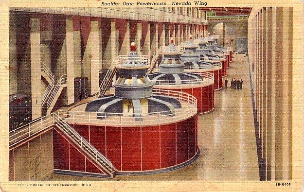 Boulder Dam Powerhouse, Nevada NV Wing 1941 Curt Teich Linen Postcard - 3762