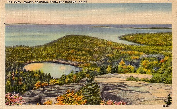 The Bowl of Acadia National Park, Bar Harbor Maine ME 1949 Linen Postcard - 3802