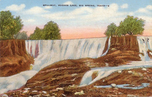 Spillway at Hughes Lake in Big Spring Texas TX Linen Postcard - 3857