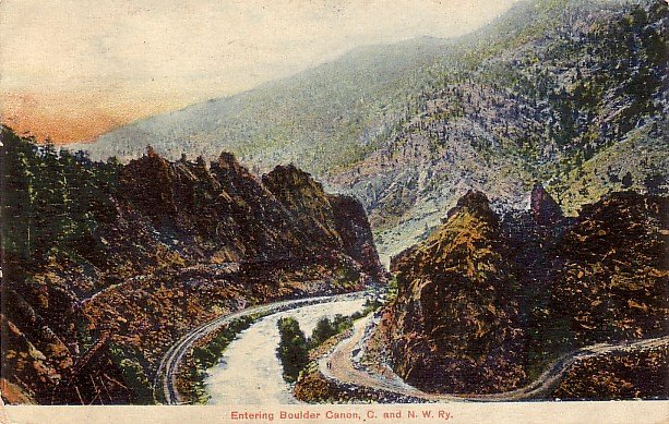Entering Boulder Canon C. and N.W. Railway in Colorado CO 1907 Vintage Postcard - 3864
