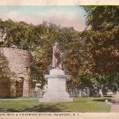 The Old Stone Mill and Channing Statue in Newport Rhode Island RI Vintage Postcard - 3877