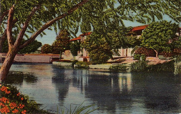 Comanche Springs in Fort Stockton Texas TX Linen Postcard - 3879