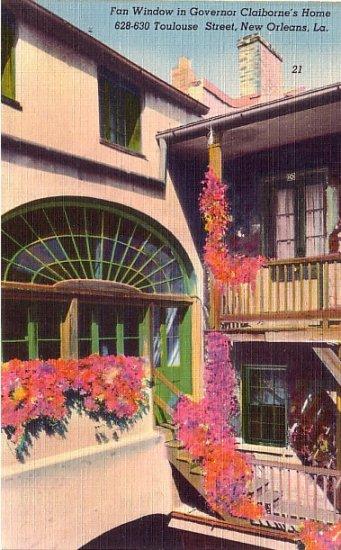 Fan Window in Governor Claiborne's Home New Orleans Louisiana LA Linen Postcard - 3880