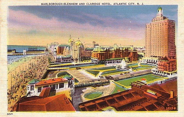 Marlborough Blenheim and Claridge Hotel in Atlantic City New Jersey NJ Linen Postcard - 3882
