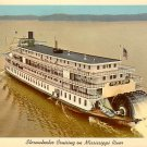 Delta Queen Sternwheeler Crusing on Mississippi River Curt Teich Chrome Postcard - 3918