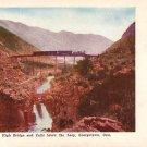High Bridge and Falls below the Loop in Georgetown, Colorado CO Vintage Postcard - 3921