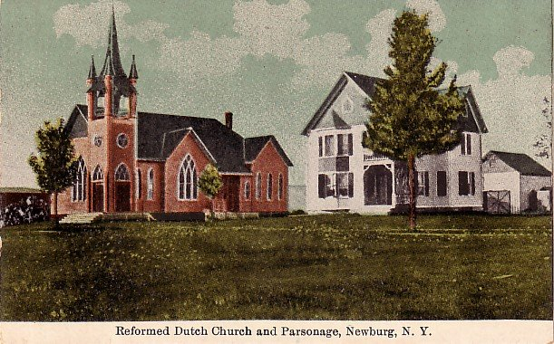 Reformed Dutch Church and Parsonage in Newburg New York NY Vintage Postcard - 0007