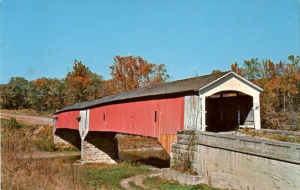 West Union Bridge Near Rockville Indiana IN Chrome Postcard - 0011