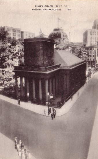 King's Chapel in Boston Massachusetts MA Vintage Postcard - 0025