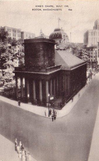 King's Chapel in Boston Massachusetts MA Vintage Postcard - 0025
