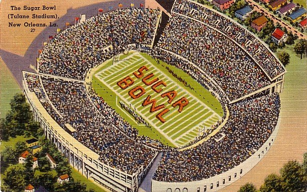 Sugar Bowl at Tulane Stadium in New Orleans Louisiana LA 1948 Linen Postcard - 0027