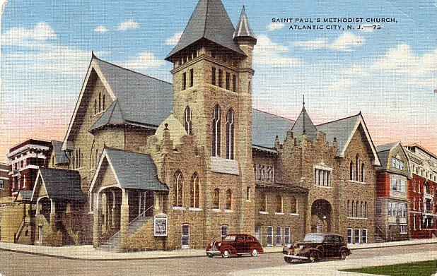 Saint Paul's Methodist Church in Atlantic City, New Jersey NJ Linen Postcard - 0039