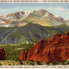 Pikes Peak thru Gateway Rocks, Garden of the Gods in Colorado CO 1937 Linen Postcard - 0050