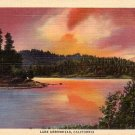 Sunset on Lake Arrowhead in California CA 1932 Curt Teich Linen Postcard - 0052