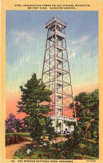 Steel Observation Tower in Hot Springs National Park Arkansas AR 1932 Linen Postcard - 0054